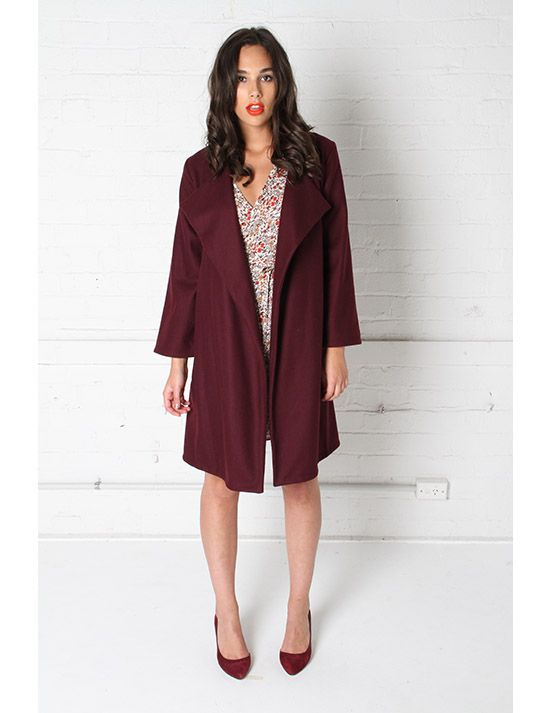 Red Velvet Coat made by Amber Whitecliffe in New Zealand. #nzmade #amberwhitecliffe
