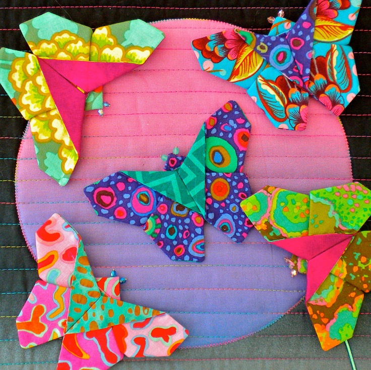 Origami Fabric Butterfly== fusible web between 2 fabrics - attaches, stiffens and finishes all at once