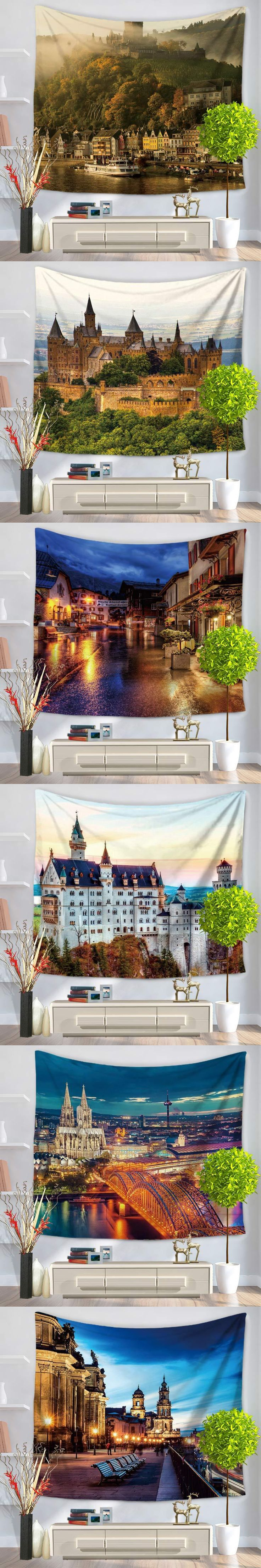 2017 wholesale wedding party gift dusk Bustling city wall hanging tapestry 130X150cm beach carpet Yoga mat picnic mat