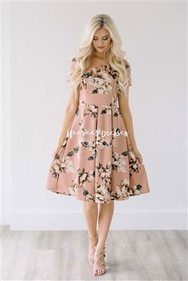 Dusty Mauve Floral Dress, Modest Bridesmaids Dress, dress with sleeves, Church Dresses, dresses for church, modest bridesmaids dresses, modest office clothing, affordable boutique dresses, cute modest dresses, cute modest clothes, summer dress