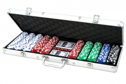 SET POKER 500 FICHES VALIGIA SILVER. Set da poker da 500 fiches, grammatura 11.50 da gara non numerate 5 dadi,  due mazzi di carte,  gettone dealer-in valigetta silver