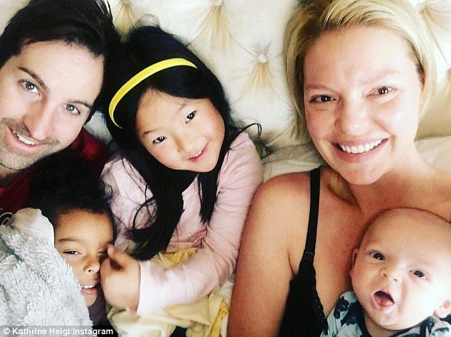 Happy camp: Katherine Heigl, 38, opened up about her diverse family on Monday...
