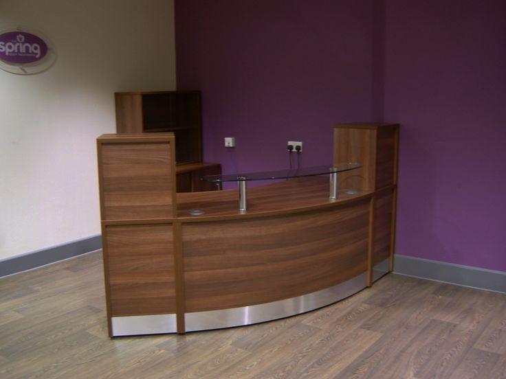 Finished In Walnut This Standard Unit Flex Reception Desk Has 2 X High Storage Pedestals