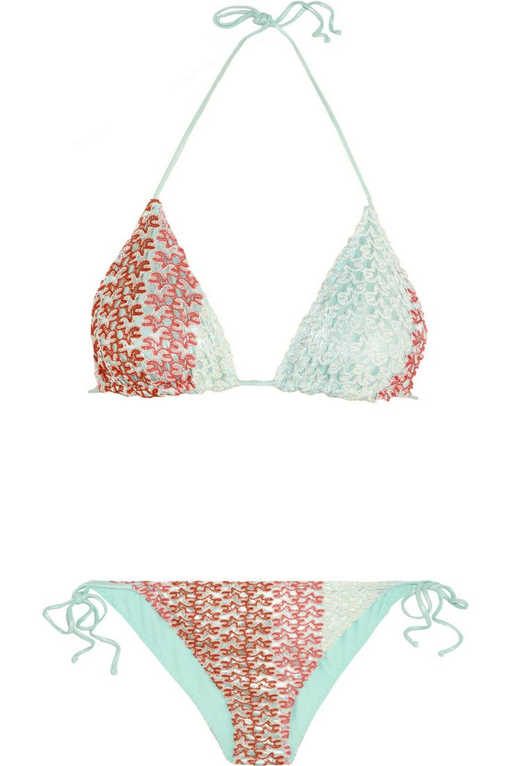 missoni crochet knit triangle bikini net a porter com swimwear pinterest missoni. Black Bedroom Furniture Sets. Home Design Ideas