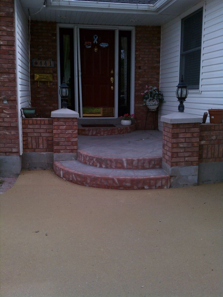 Exterior: Cool And Charming Curved Step Stairs Concrete Porch With White Modular Facade Wall Decor As Inspiring Small Veranda Designs. Stamped Concrete Porch Designs, Front Porch Stamped Concrete, Front Door Makeover, Concrete Front Step Ideas, Stamped Concrete Porch | Ranzom.com