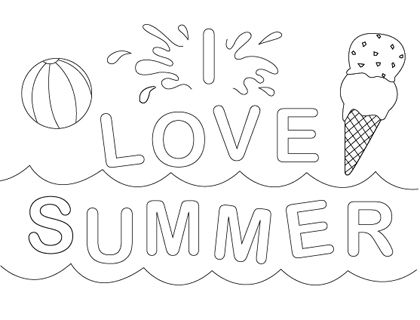 Summer Coloring Pages these are nice and when you print them, there's not a lot of gobbledygook printed at the  top and bottom. sn