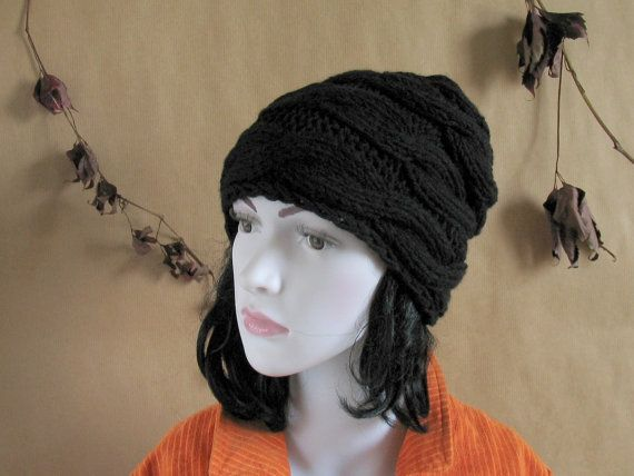 Slouch Beanie Slouchy Hat Black Hand Knit Chunky by recyclingroom