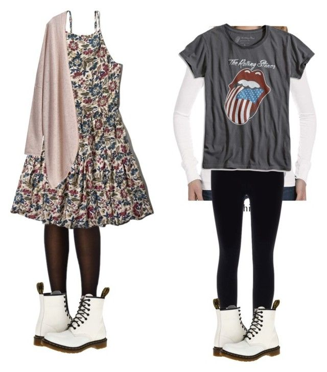 """Violet inspired outfits with white doc martens"" by violetharmonfashion ❤ liked on Polyvore featuring Dr. Martens, Abercrombie & Fitch and Lucky Brand"