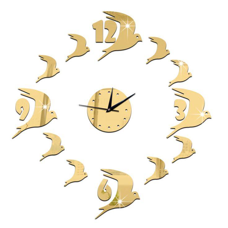3D Acrylic Wall Clock Swallow Mirror golden
