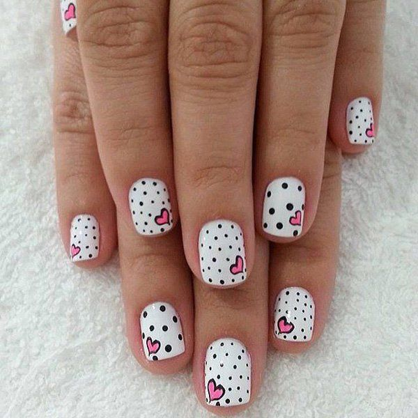Perfect for those who are looking for summer fun, these polka dotted nails are great when paired with summer dresses and light spring wear.