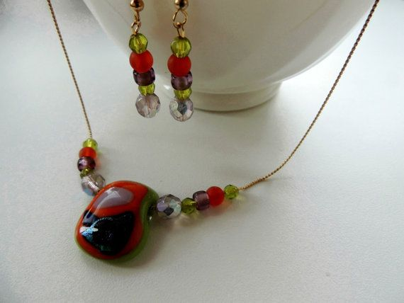 green orange fused glass necklace and by Homeforglasslovers