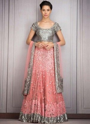 Silver and Pink Mehndi Sangeet ceremony Lehenga with Mirror & Sequin Work at Zikimo