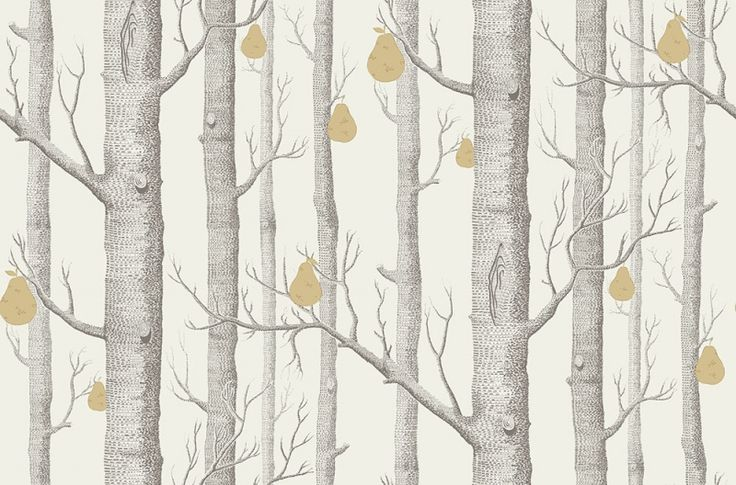 Woods and Pears (95/5032) - Cole & Son Wallpapers - The iconic woods has borne fruit, golden pears in shimmering metallic hues printed in dark grey on off white. Available in other colours – please ask for a sample for a true colour match. Paste-the-wall product.