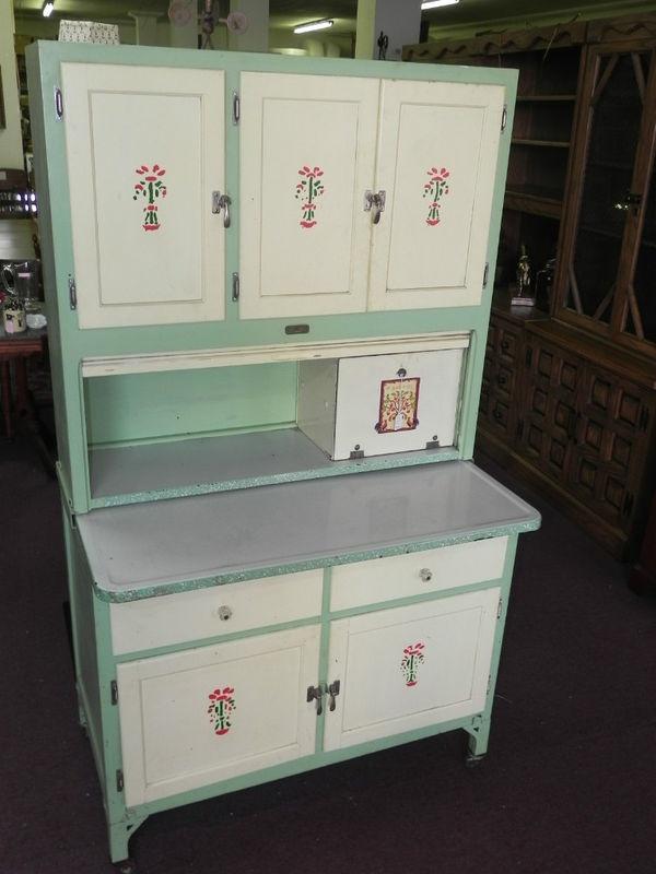 Vintage SELLER'S Kitchen Cabinet GREEN Paint,Porcelain Top Flour Bin Bread  Box - 309 Best Sellers / Hoosier Cabinets Images On Pinterest Hoosier