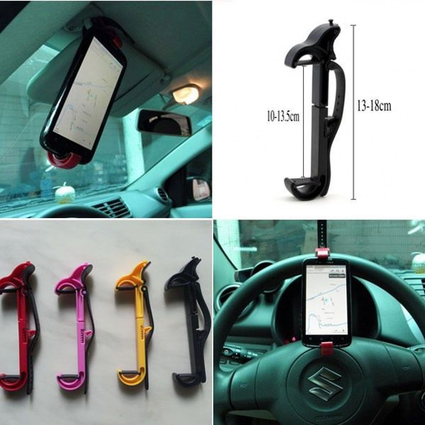 Portable Steering Wheel Cradle Holder Smart Clip Car Bike Mount For Mobile Phone