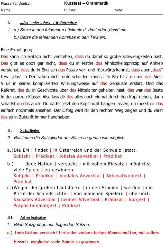 Klassenarbeit Zu Grammatik Deutsch 7 Klasse
