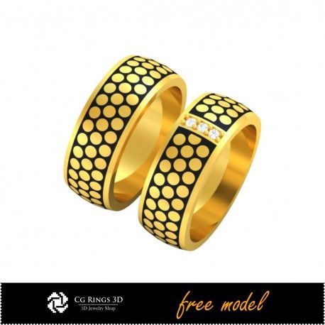 3D CAD Wedding Ring With Enamel- Free 3D Model