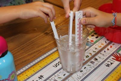 weather activities - place thermometers in hot, then cold water and observe difference.