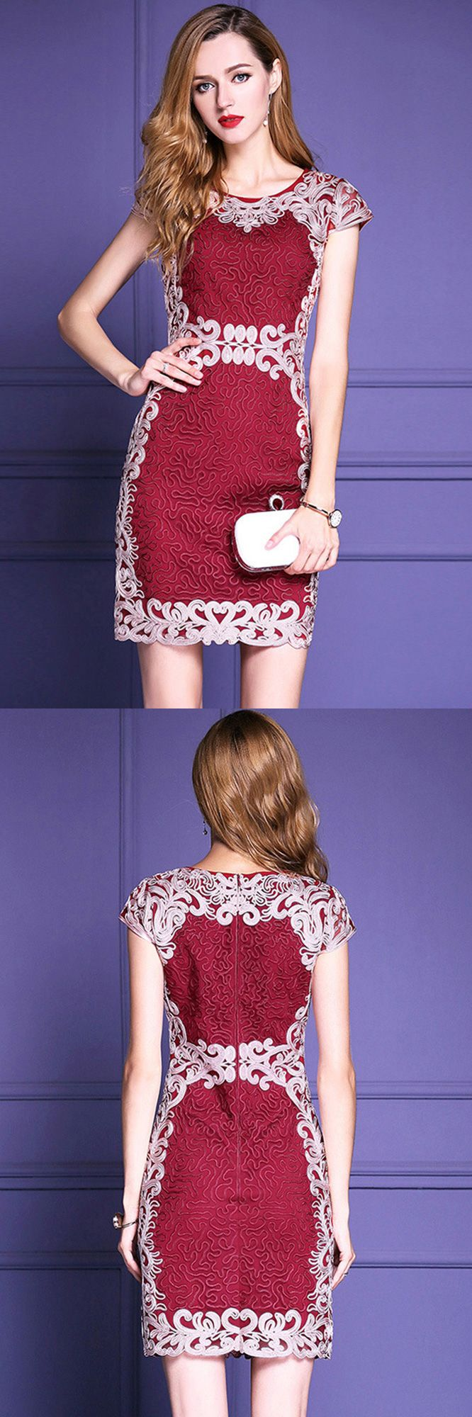 Only $79.99, Cocktail Dresses Burgundy Formal Embroidered Bodycon Cocktail Dress For Weddings #ZL8004 at #GemGrace. View more special Cocktail Dresses,Wedding Guest Dresses now? GemGrace is a solution for those who want to buy delicate gowns with affordable prices, a solution for those who have unique ideas about their gowns. High quality Classy the Guest collection new arrived, shop now!