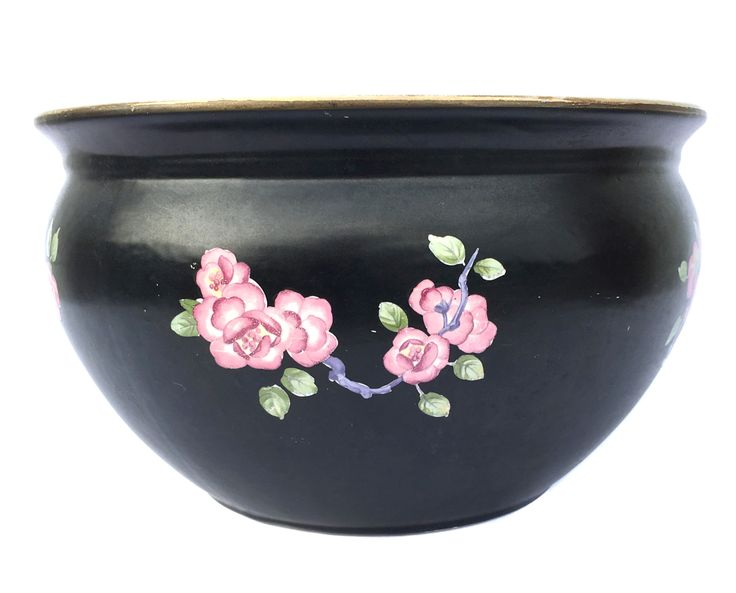 Edwardian Planter Black Planter Decorated with English Roses Vintage Planter Antique Chamber Pot Vintage Potty Vintage Home Decor Housewares by BiminiCricket on Etsy