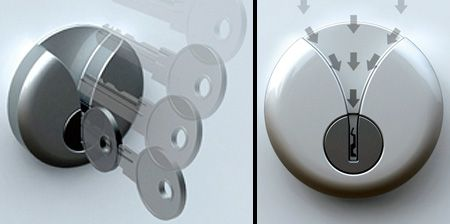 Innovative door lock designed by Junjie Zhang for people who have trouble finding the keyhole and inserting the key in the dark.