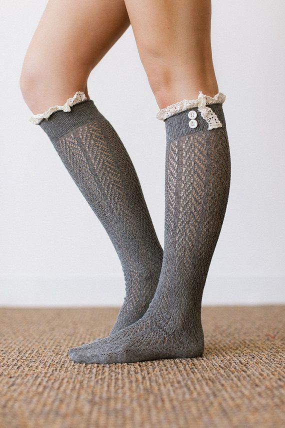 Lace Socks for Boots, Lace Trim Boot Socks, Ruffle Socks, Fashion Accessories for Women Dark Gray (BS-78)