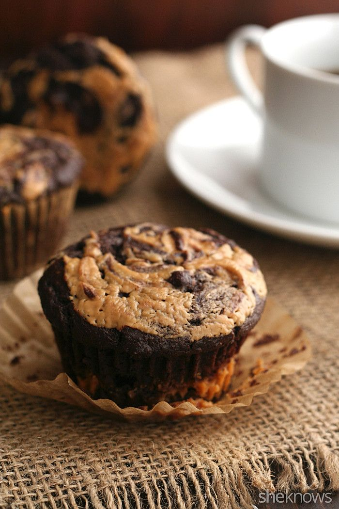 Chocolate peanut butter muffins are a yummy low-cal treat