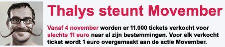 Met de november actie van de Thalys reis je al met de trein naar ieder willekeurig eindpunt voor slechts 11 euro. De november actie komt door de Movember Foundation dus je kan goedkoop met de trein naar Parijs reizen!