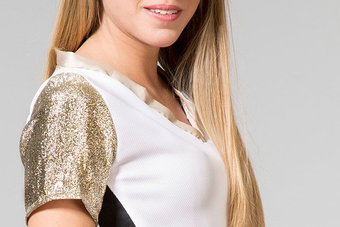Laura - white top with gold details | detail