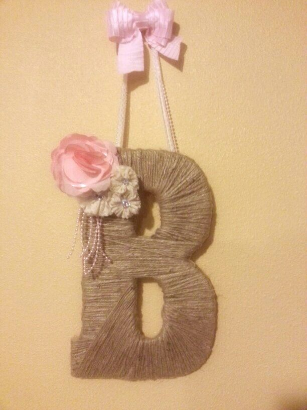 "Jute wrapped monogrammed letter ""B"" for a country shabby chic girl baby shower."