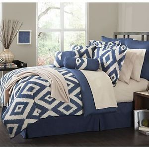 Navy Blue Comforter Sets Queen | ... -Comforter-Set-Durham-Navy-Blue-Soutwest-ensemble-Bedroom-King-Queen