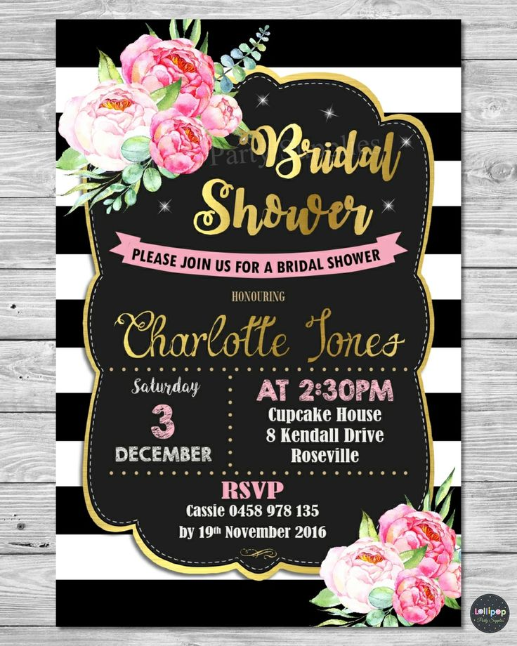 Peony Floral Bridal Shower Personalised Invitation - Printed or Digital - Ship Worldwide.  Visit www.lollipoppartysupplies.com.au
