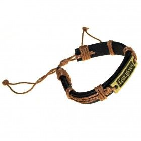 Macho-Man Brass Cuffs - COURAGEOUS | Hip Angels Courageous Macho Man Bracelets made from leather and metal charms with great designs.    This range of bracelets comes in distressed tan brown leather with rustic steel detailing. Complete with an engraved charm and distinctive barrel detailing. #Scarves_Wholesale #Macho_Man_Bracelets #Brown_Leather_Bracelets #Metal_Leather_Bracelets