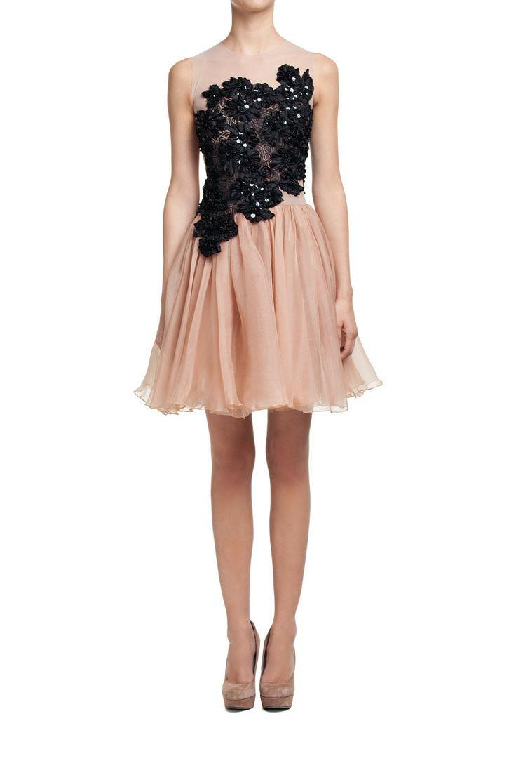 Sukienka z jedwabnej organdyny z koronkową aplikacją | Ubrania \ Sukienki \ Mini Ubrania \ Sukienki \ Wieczorowe Ubrania \ Sukienki \ Koktajlowe PROJEKTANCI \ Teresa Rosati Ubrania \ Wszystkie ubrania Sukienki Wszystkie ubrania | MOSTRAMI.PL