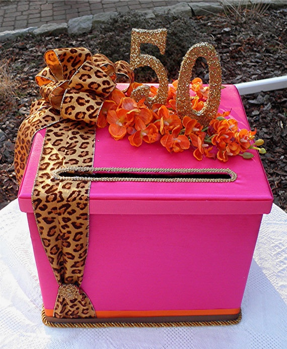 50th BIRTHDAY Party Card Box  CUSTOMIZE  Your Colors Ribbon and Number. $80.00, via Etsy.