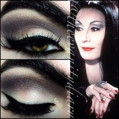 Morticia Addams inspired look from a while back ricepaper all over with copperplate in the crease. | See more about Morticia Addams, Makeup and Ray Ban Glasses.