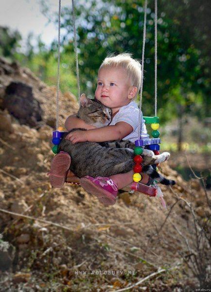 just swinging with my kitty: Picture, Best Friends, So Cute, Bestfriends, Swings, Babycat, Kids, So Sweet, Baby Cat