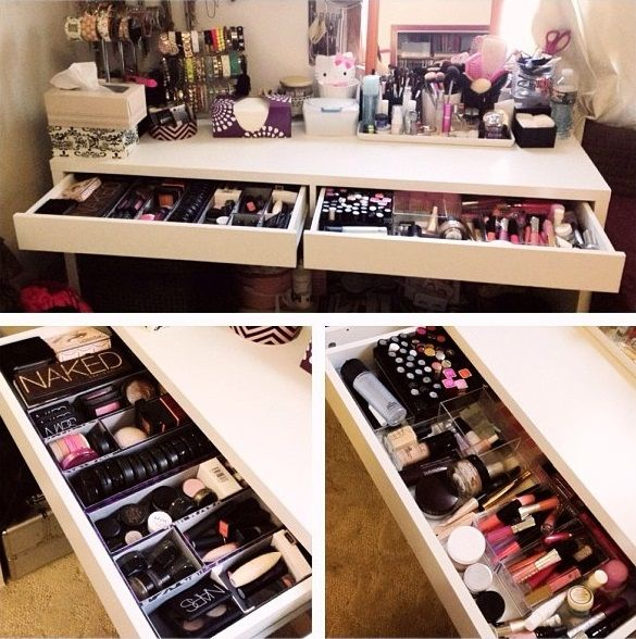 2 drawer makeup vanity - organization