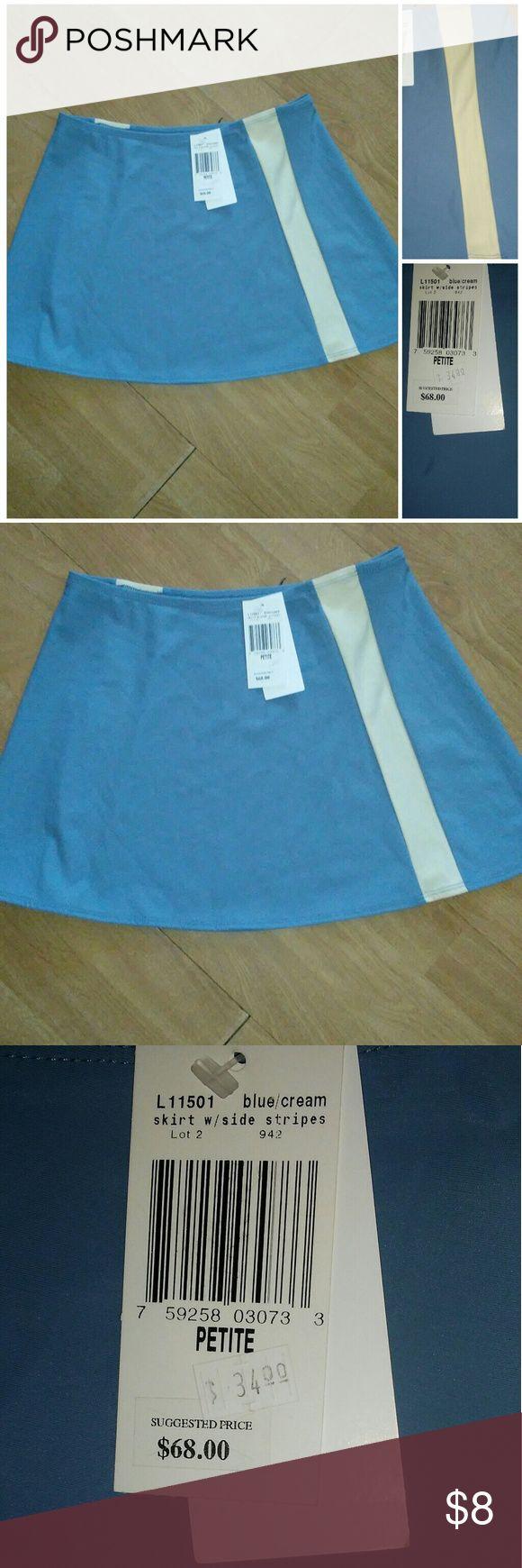 💙Aqua💙Swim Skirt with Stripe-Sz Petite (XS) Cute and modest swim skirt. Dusty blue with creme stripes on either side. Stretch waist  Can be worn to cover bikini bottom.  Size Petite.  Petite usually fits like an XS Aqua Swim