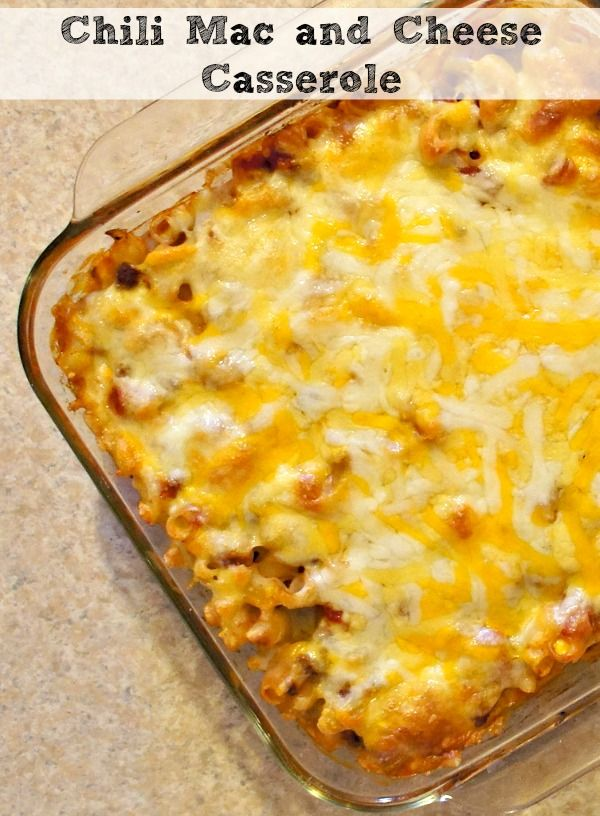 Chili Mac and Cheese Casserole, an easy weeknight meal that combines the comfort foods chili and mac and cheese!