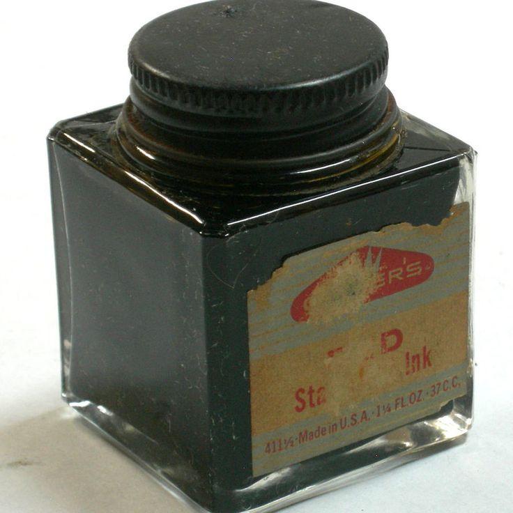 vtg carter 39 s writing fluid glass bottle red square box for. Black Bedroom Furniture Sets. Home Design Ideas