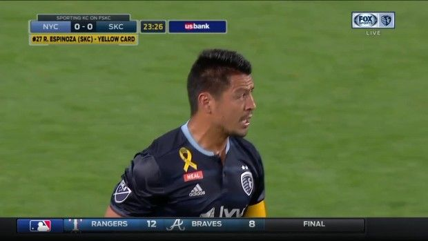 #MLS  YELLOW CARD: Roger Espinoza slides in recklessly