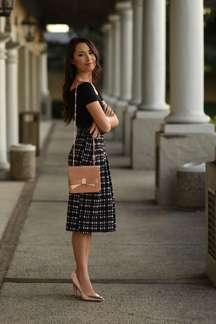 plaid midi skirt with off shoulder top