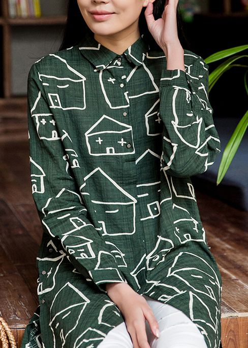 Casaul and stylish. Happy house print cotton sundress long sleeves shirt blouse in green