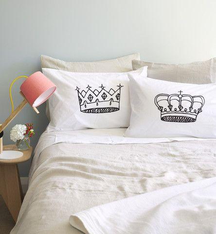 King & Queen Pillowcase Set - Black - The Art Room