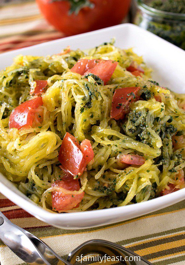 Whole30 Spaghetti Squash with Pesto - Even if you aren't on the Whole30 program, you will love this easy, flavorful side dish!
