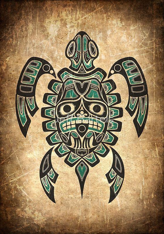Teal Blue and Black Haida Spirit Sea Turtle by Jeff Bartels