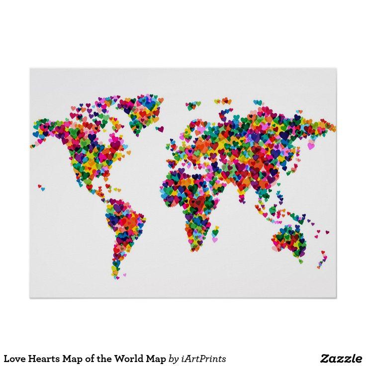 Mapa de los corazones del amor del mapa del mundo p ster - Cuadro mapamundi ikea ...