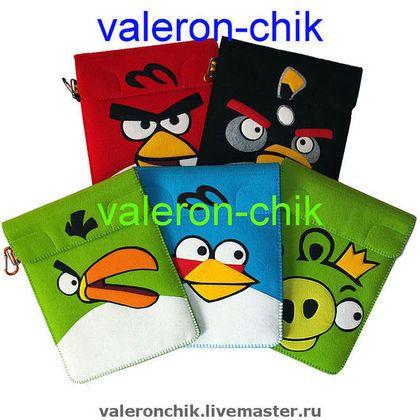 """Сумки для ноутбуков ручной работы. Angry Birds - зеленый птах - чехол для планшета iPad 2 /iPad /Acer. """"У Валерончика"""" фетр и фурнитура. Ярмарка Мастеров."""