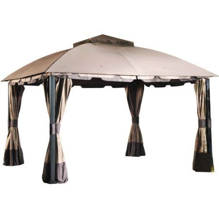 Sunjoy Midtown Gazebo, Brown: Unique domed canopy provides more clearance than traditional pyramidal canopies 2-toned canopy and tie backs Plenty of space for dining or seating beneath Vented canopy gazebo allows for better stability in windy conditions Comes with full-length mosquito netting and privacy curtains Steel frame with a durable powder-coated finish Dimensions: 12'L x 10'W x 9.68'H 12-month warranty Midtown brown gazebo model# L-GZ659PST